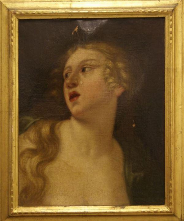 Scuola Italiana sec. XVIII   PIANTO DI DIDONE  olio su tela, cm 47x37 cadute di colore