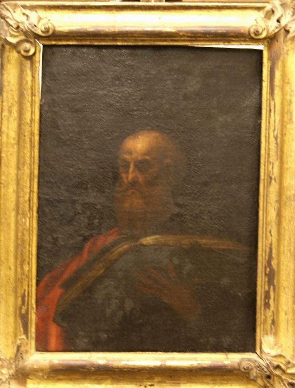 Scuola Italiana, sec. XVIII  SANTO CON LIBRO  olio su tela, cm 52,5x39 danni