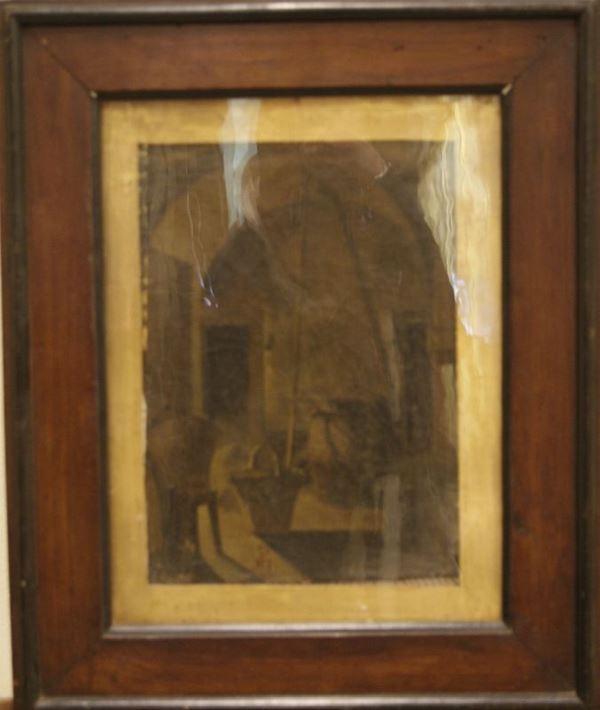 Scuola Italiana, sec. XIX  INTERNO olio su tela, cm 31x23, siglato