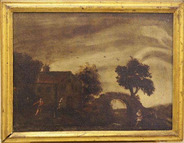 Scuola Italiana sec. XVIII   PAESAGGIO CON PONTE  olio su tela, cm 57x78