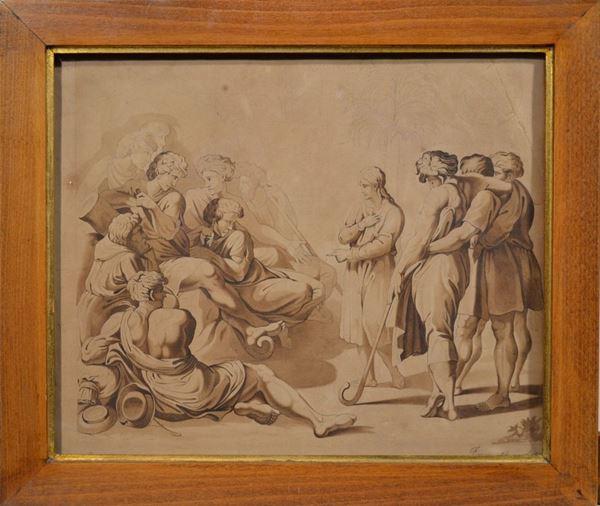 Scuola francese, sec. XIX SCENA BIBLICA matita e inchiostro bruno acquerellato su carta, cm 25x30 restauri firmato Fanny e datato 16 avril 1859