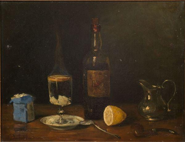 Scuola francese sec. XIX NATURA MORTA CON BOTTIGLIE E LIMONE olio su tela, cm 43x55 indistintamente firmato
