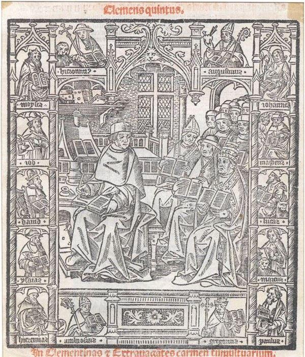 Scuola tedesca, fine sec. XV PAPA CLEMENTE V IN CONCILIO xilografia su carta, cm 17x14,5