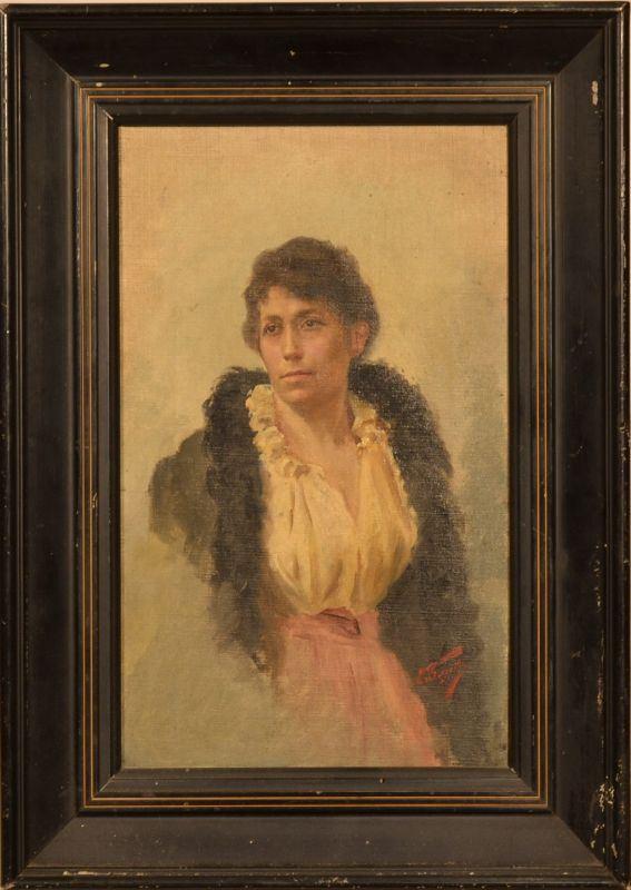 Artista della fine del  sec. XIX RITRATTO DI ADELE CINI olio su tela, cm 30x18,5 indistintamente firmato