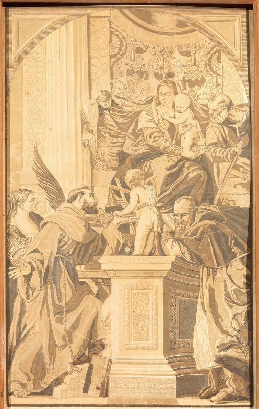 J.B. Jackson, sec. XIX MADONNA IN TRONO COL BAMBINO E SANTI xilografia acquerellata a monocromo, cm 59x38, entro cornice in cartone decorata a motivi vegetali da un dipinto di Paolo Veronese