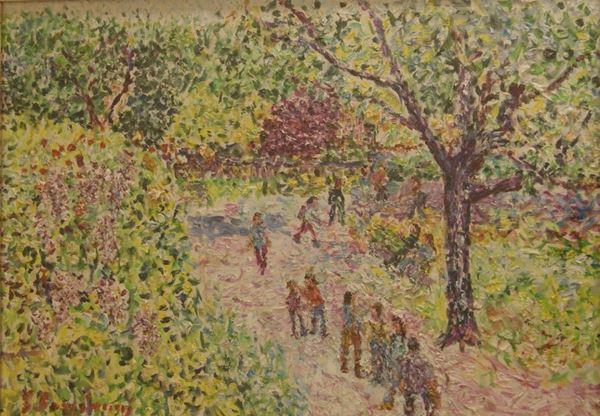 Guido Borgianni (New York 1915-Firenze 2011) VEDUTA DI GIARDINO olio su tela, cm 50x70