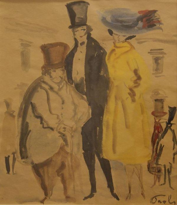 Bruno Paoli (Firenze 1915-2005) FIGURE  acquerello su carta, cm 35x30,5