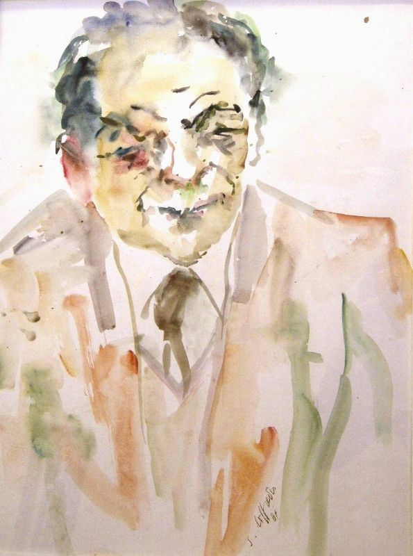 Silvio Loffredo (Parigi 1920)  FIGURA MASCHILE  acquerello su cartone, cm 48x65