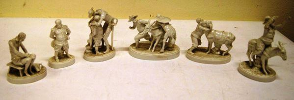 Sei statuette, fine sec. XIX inizio XX, Ginori, in porcellana bianca, raffigurante scene delle vicende di Don Chisciotte e Sancho Panza, alt. massima cm 12, restauri e mancanze(6)