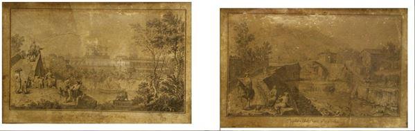 Coppia di stampe, sec. XVIII  VEDUTE DI POGGIO A CAIANO E DI PONTE ALLA BADIA  cm 33x52  difetti(2)