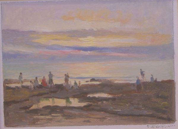 Cafiero Filippelli (Livorno 1889-1973)  PAESAGGIO CON FIGURE  olio su tavola, cm 20x16
