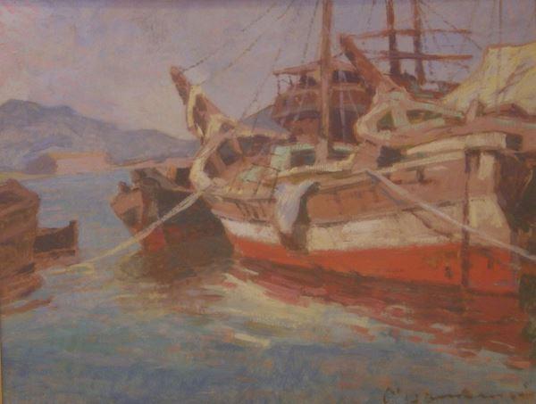 Carlo Domenici (Livorno 1898-Portoferraio 1981) MARINA  olio su masonite, cm 40x30