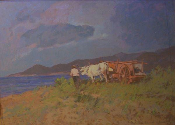 Carlo Domenici (Livorno 1898- Portoferraio 1981)  PAESAGGIO CON BUOI  olio su masonite, cm 70x50