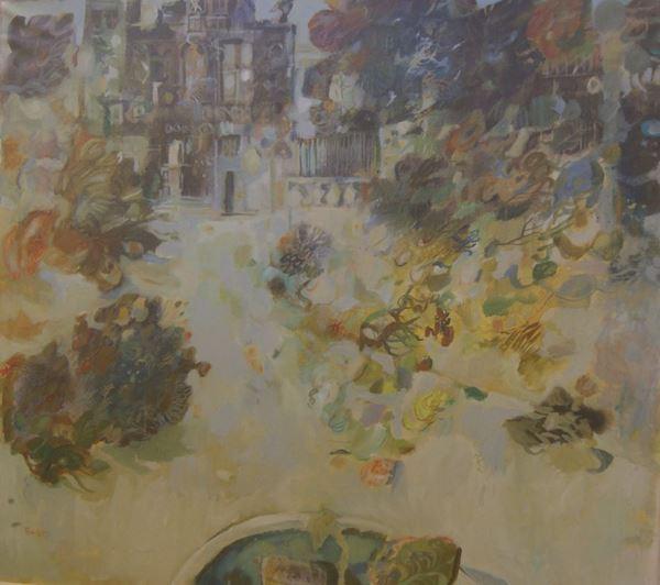 Antonio Possenti (Lucca 1933)  VEDUTA DI GIARDINO  olio su tela, cm 90x80