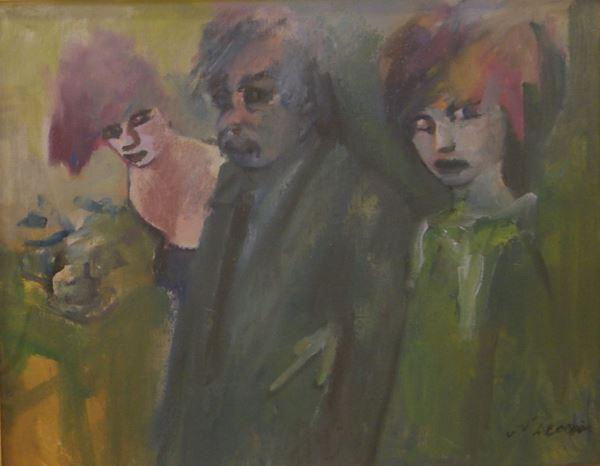 Mino Maccari (Siena 1898- Roma 1989)  TRE FIGURE tecnica mista su cartone telato, cm 50x40