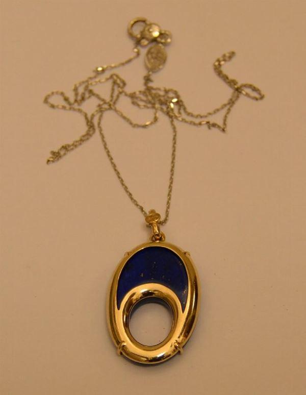 Collana in oro bianco con pendente in oro e lapislazzuli, peso oro g 5, marcato Torrini