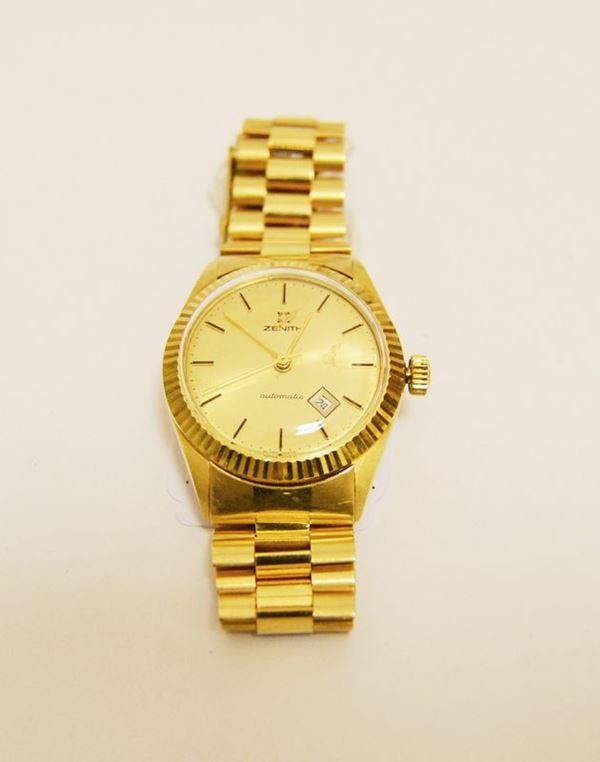 Orologio da polso per signora, Zenith, automatico, con datario, cassa e bracciale in oro giallo, g 66,4 (cassa con difetti)