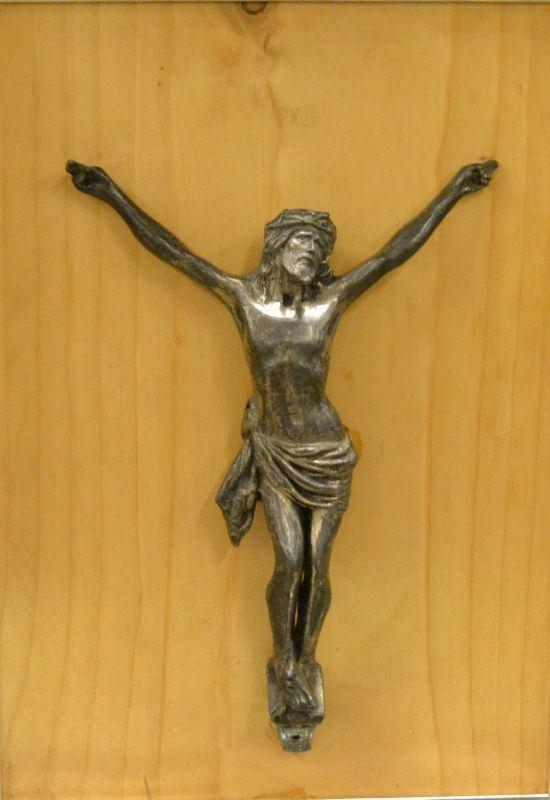 Scultura, sec. XVIII, CRISTO, in metallo, entro cornice, alt. cm 20