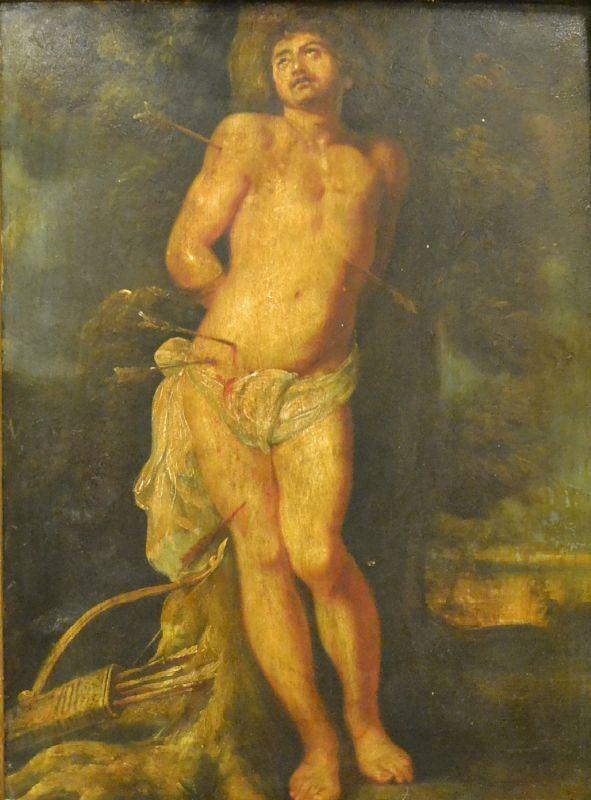 Scuola Italiana, sec. XIX  SAN SEBASTIANO  olio su rame, cm 30x40