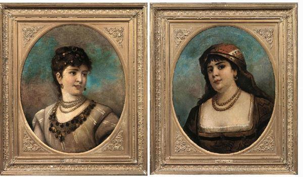 Scuola italiana del sec. XIX ODALISCHE coppia di olii su tela, cm 70x55  entrambi a firma Egisto Ferroni  (2)