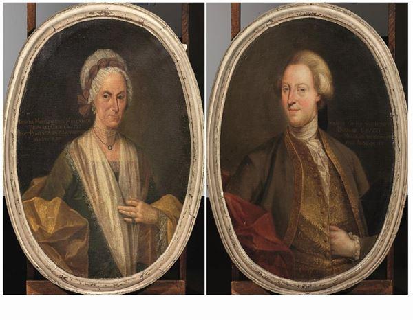 Scuola Italia settentrionale, sec. XVIII   RITRATTO DI SIGISMONDO BRUMANI CAUZZI E MARGHERITA BRUMANI GADI CAUZZI  coppia di dipinti ad olio su tela ovale, cm 100x75 ca