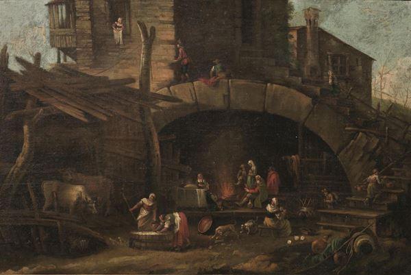 Scuola fiamminga, sec. XVIII  CASOLARE CON CONTADINI E ARMENTI olio su tela, cm 60x90