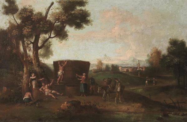 Scuola veneta, sec. XVIII  PAESAGGIO CON BACCO E CONTADINI olio su tela, cm 60x90