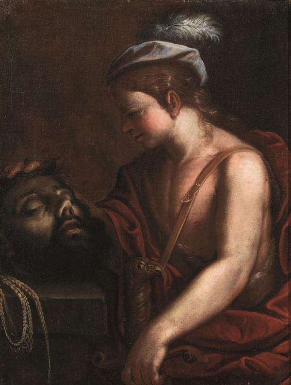 Scuola emiliana, sec. XVII  DAVIDE CON LA TESTA DI GOLIA olio su tela, cm 86x64,5