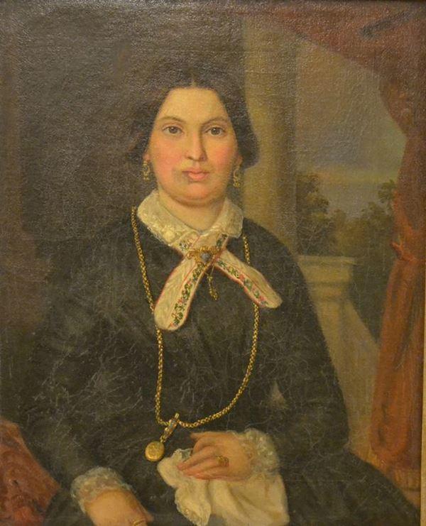 Scuola Italiana, sec. XIX  RITRATTO FEMMINILE  olio su tela, cm 47,5x58,5