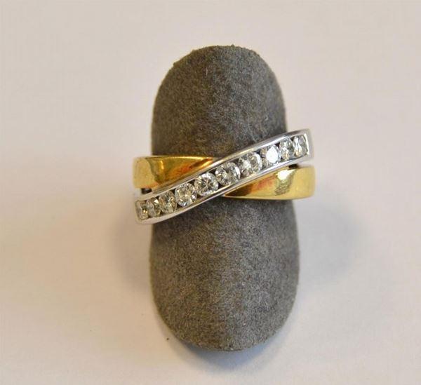 Anello in oro giallo,oro bianco e diamanti