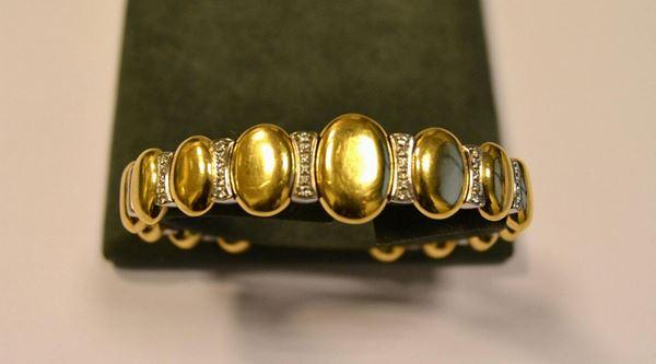 Bracciale in oro giallo,oro bianco e diamanti