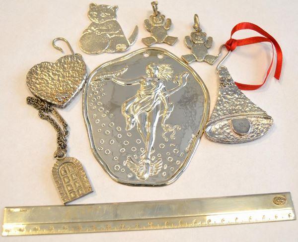 Sei portachiavi in argento 925