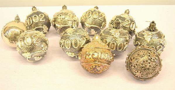 Quarantacinque sfere ,per addobbi natalizi , in argento 925