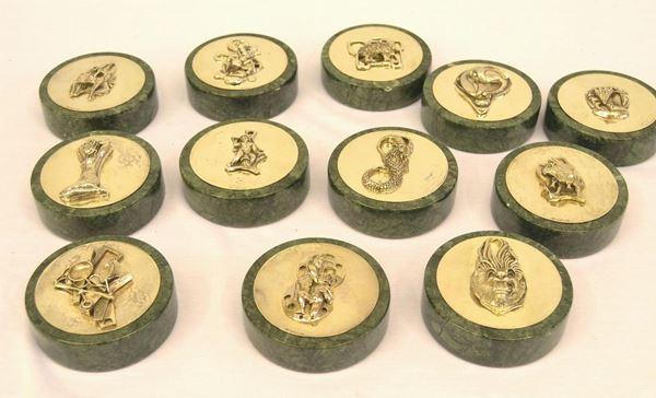 Dodici fermafogli in argento 925