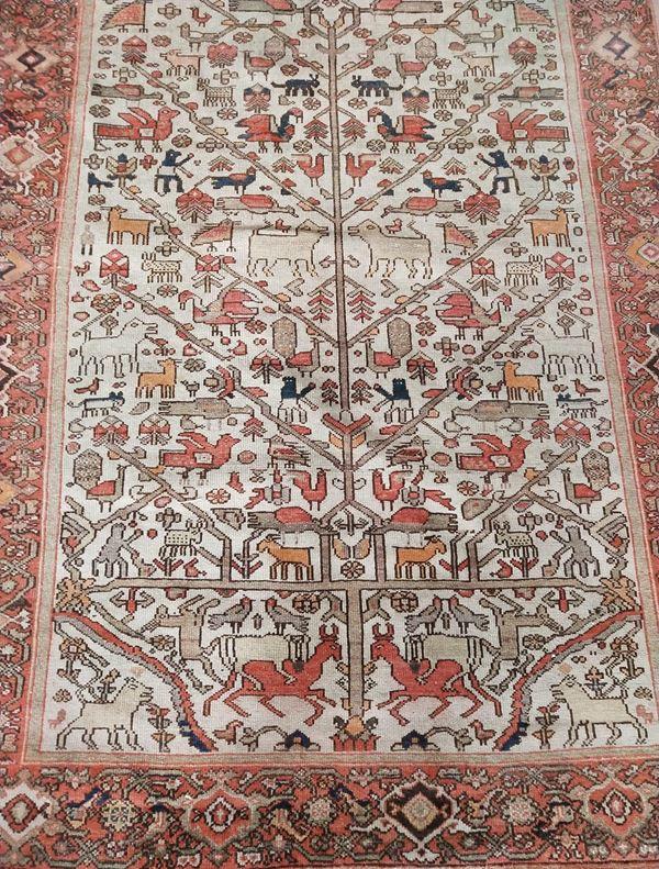 Tappeto persiano, sec. XX, fondo nei toni del beige, leesene laterali, cm