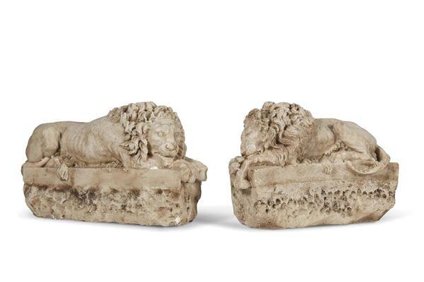 Coppia di sculture, sec. XIX