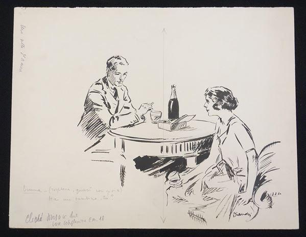 Lotto di dieci illustrazioni eseguite da Alberto Bianchi (1882-1969) matita,