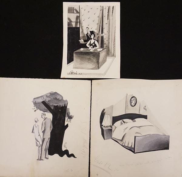 Lotto di tre illustrazioni eseguite da Perissinotto Giorgio detto Peri