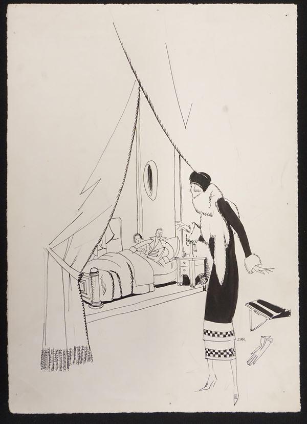 Lotto di cinque illustrazioni eseguite da Ubaldo Cosimo Veneziani