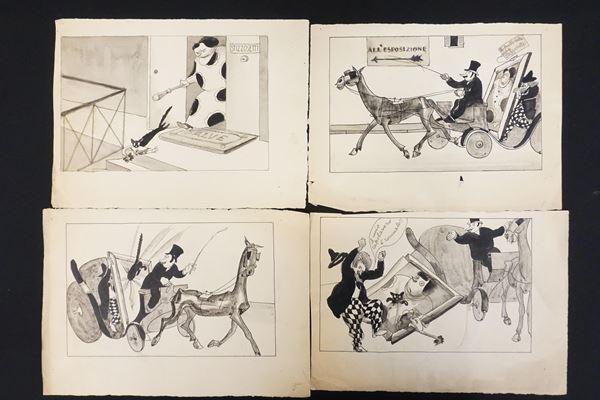 Lotto di dieci illustrazioni eseguite da Mario Vellani Marchi (1895-1979)