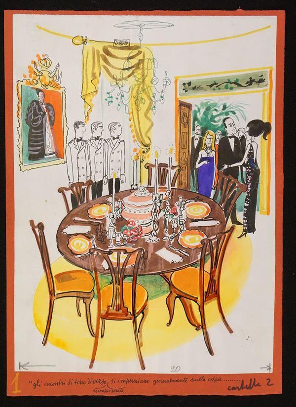 Lotto di sei illustrazioni eseguita da Bruna Moretti detta Brunetta