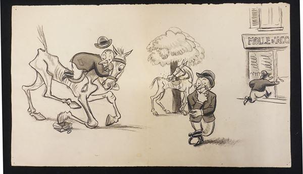 Lotto di nove illustrazioni eseguite da Mario Bazzi (1891-1954)
