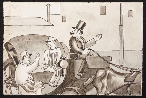 Lotto di sei illustrazioni eseguite da Mario Bazzi (1891-1954) raffiguranti