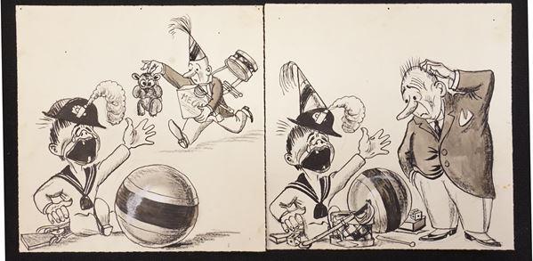 Lotto di sette illustrazioni eseguite da Mario Bazzi (1891-1954)