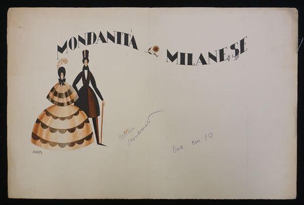 Lotto di quattro illustrazioni eseguite da Bruno Angoletta