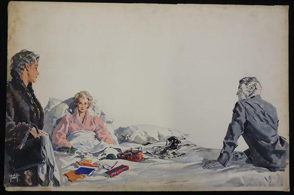 Lotto di tre illustrazioni eseguite da Giorgio Tabet (1904-2002), una