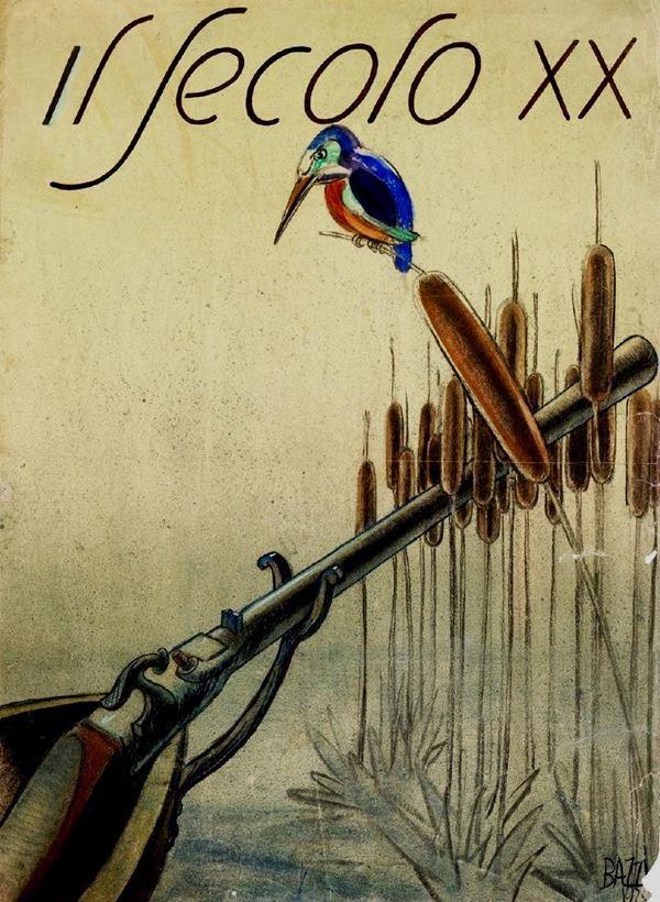 Mario Bazzi (1891-1954) originale di copertina realizzato per la rivista