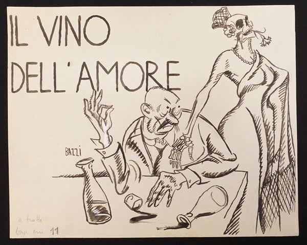 """Lotto di nove illustrazioni eseguite da Mario Bazzi (1891-1954) per """"Il"""