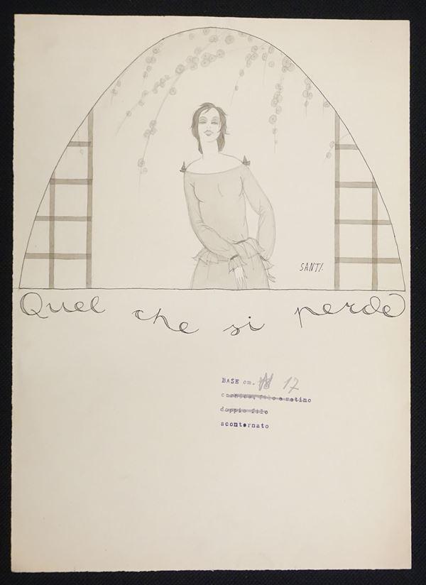 Lotto di nove illustrazioni eseguite da Bruno Santi (1892-1954), matita e