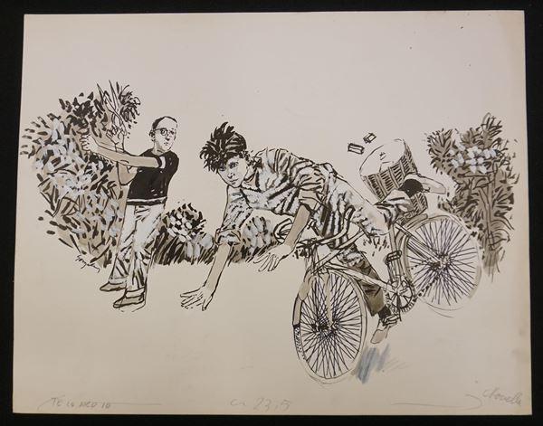 Lotto di nove illustrazioni firmate Gonzales e una firmata Boulii, eseguite